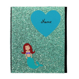 Personalized name mermaid seafoam green glitter iPad cases
