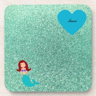 Personalized name mermaid seafoam green glitter drink coaster