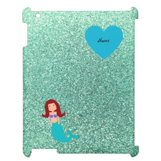 Personalized name mermaid seafoam green glitter case for the iPad