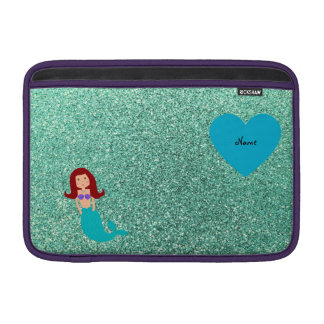 Personalized name mermaid seafoam green glitter sleeves for MacBook air