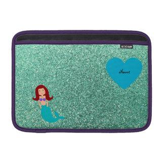 Personalized name mermaid seafoam green glitter MacBook sleeve