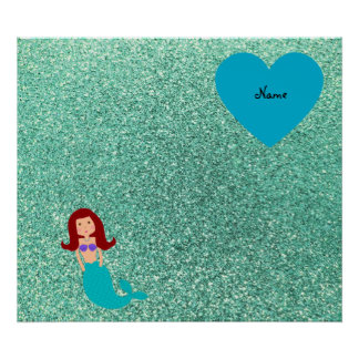 Personalized name mermaid seafoam green glitter poster