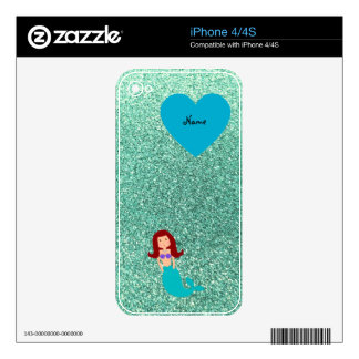Personalized name mermaid seafoam green glitter iPhone 4S skin