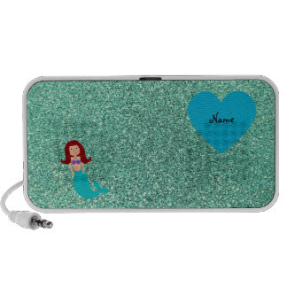 Personalized name mermaid seafoam green glitter portable speakers