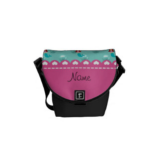 Personalized name mermaid seafoam green pearls courier bag