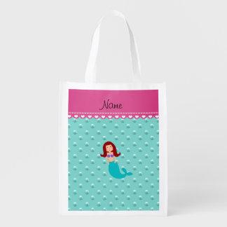 Personalized name mermaid seafoam green pearls reusable grocery bags