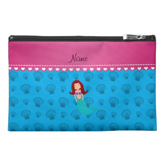 Personalized name mermaid sky blue shells travel accessories bag