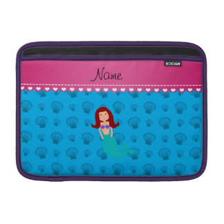 Personalized name mermaid sky blue shells sleeve for MacBook air