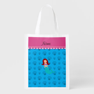 Personalized name mermaid sky blue shells reusable grocery bag