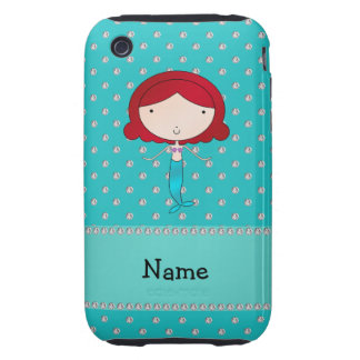 Personalized name mermaid turquoise diamonds tough iPhone 3 cases