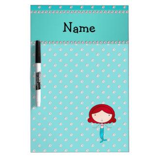 Personalized name mermaid turquoise diamonds Dry-Erase board