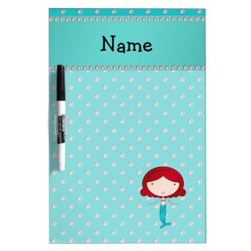 Personalized name mermaid turquoise diamonds Dry-Erase whiteboard