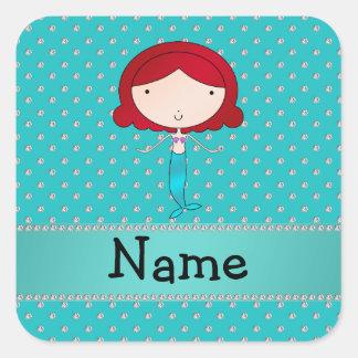 Personalized name mermaid turquoise diamonds square sticker
