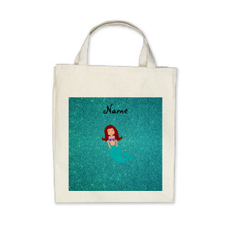 Personalized name mermaid turquoise glitter tote bags