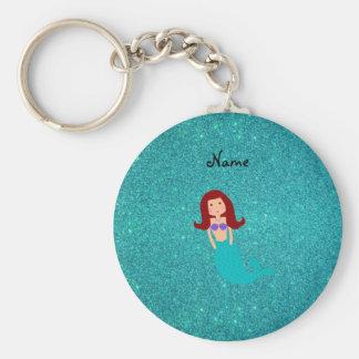Personalized name mermaid turquoise glitter basic round button keychain