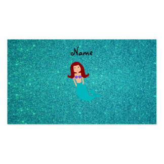 Personalized name mermaid turquoise glitter business card templates