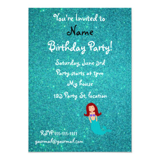 Personalized name mermaid turquoise glitter card