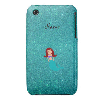 Personalized name mermaid turquoise glitter iPhone 3 cases