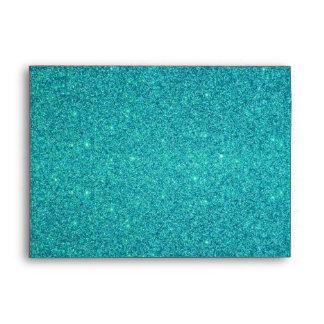 Personalized name mermaid turquoise glitter envelope