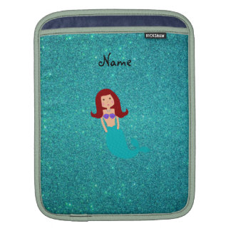 Personalized name mermaid turquoise glitter iPad sleeves
