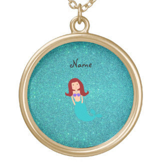 Personalized name mermaid turquoise glitter round pendant necklace