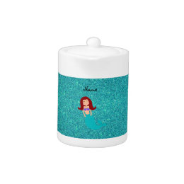Personalized name mermaid turquoise glitter teapot