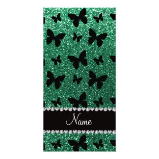Personalized name mint green glitter butterflies picture card