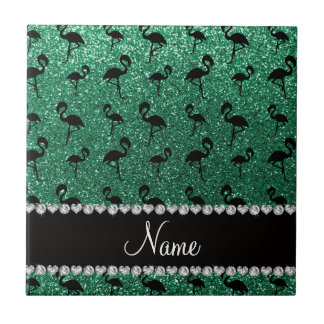 Personalized name mint green glitter flamingos ceramic tiles