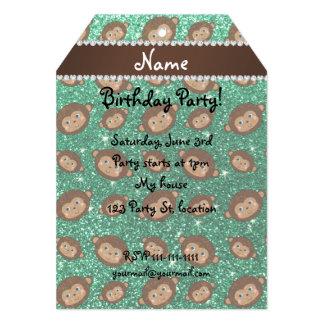 Personalized name mint green glitter monkeys 5x7 paper invitation card
