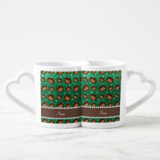 Personalized name mint green glitter monkeys couples' coffee mug set