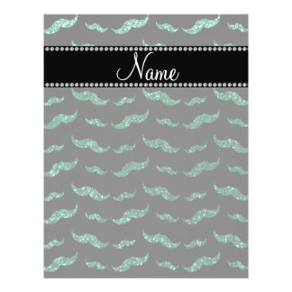 "Personalized name mint green glitter mustaches 8.5"" x 11"" flyer"