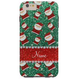 Personalized name mint green glitter santas iPhone 6 plus case