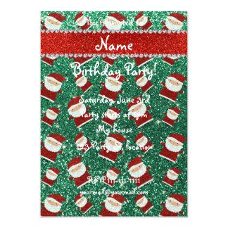 Personalized name mint green glitter santas 5x7 paper invitation card