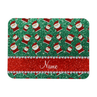 Personalized name mint green glitter santas magnet