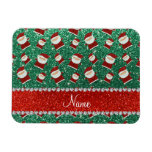 Personalized name mint green glitter santas rectangular magnet
