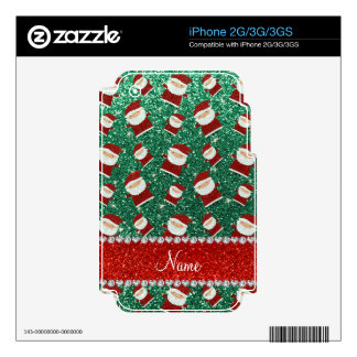 Personalized name mint green glitter santas decals for the iPhone 3