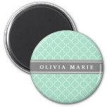 Personalized Name Mint Lattice Pattern Refrigerator Magnet