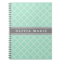 Personalized Name Mint Lattice Pattern Notebook
