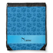 Personalized name misty blue dog paws drawstring backpack
