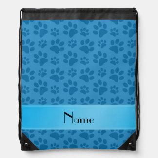 Personalized name misty blue dog paws drawstring backpacks
