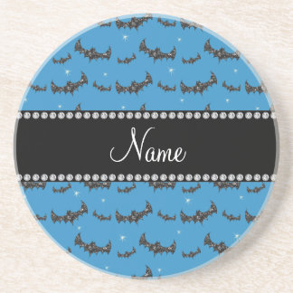 Personalized name misty blue glitter bats beverage coasters