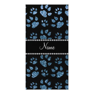 Personalized name misty blue glitter cat paws photo greeting card