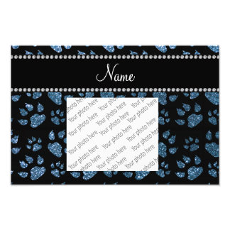 Personalized name misty blue glitter cat paws photo print