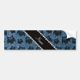 Personalized name misty blue glitter owls bumper sticker