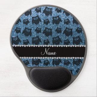 Personalized name misty blue glitter owls gel mousepad