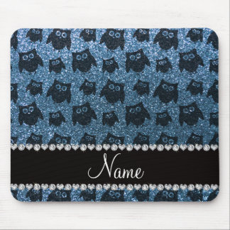 Personalized name misty blue glitter owls mousepad