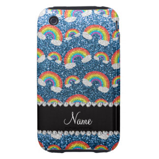 Personalized name misty blue glitter rainbows tough iPhone 3 cases