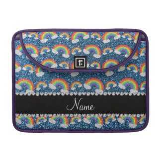 Personalized name misty blue glitter rainbows sleeve for MacBook pro