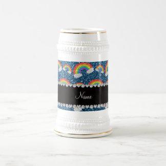 Personalized name misty blue glitter rainbows coffee mugs
