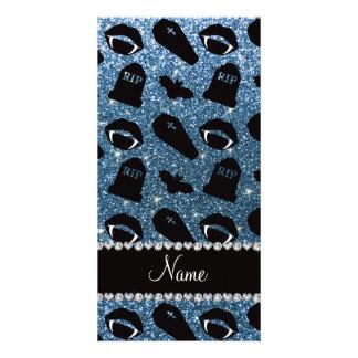 Personalized name misty blue glitter vampire custom photo card
